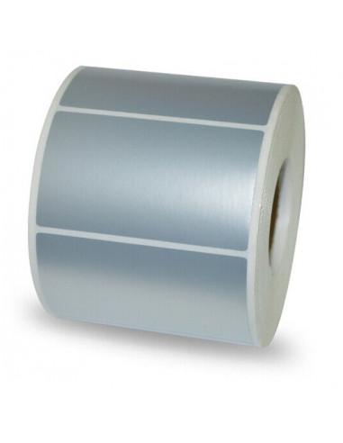 3 000 étiquettes - 76,2 x 25,4mm - Polyester Extrême Argent - Mandrin Ø76