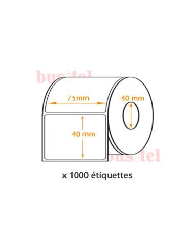1 1000 Etiquettes 75x40mm - Polyéthylène blanc brillant Ø40- adhésif permanent