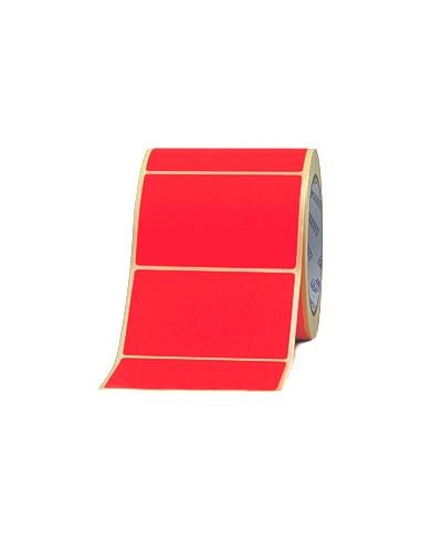 1 2000 Etiquettes Velin Rouge 100x50mm - mandrin 76