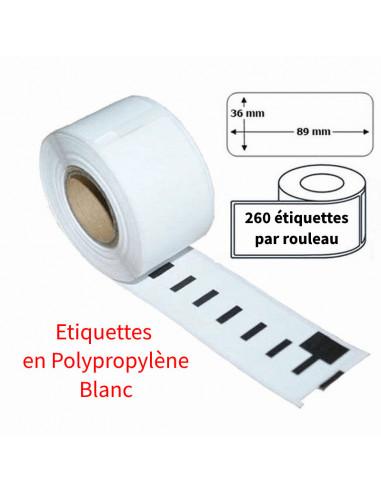 1 Étiquettes Dymo compatibles PP (plastique) Blanc 99012 - 89 x 36mm