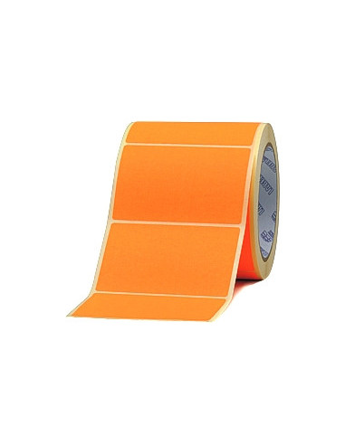 1 2 500 Étiquettes 50 x 18 mm - Papier Velin ORANGE FLUO Permanent - Mandrin Ø76mm