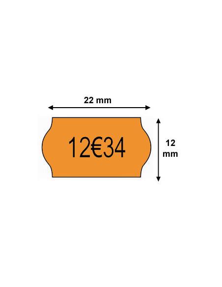 2 Etiquettes prix 22 x 12 Orange Fluo - Boite de 42 rouleaux