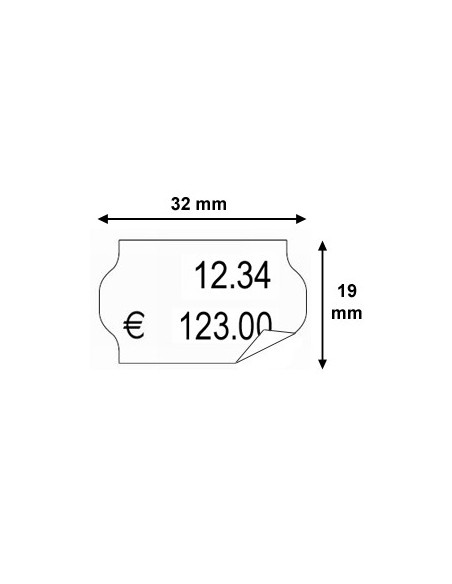 2 Etiquettes prix 32 x 19 Amovible - Boite de 30 rouleaux