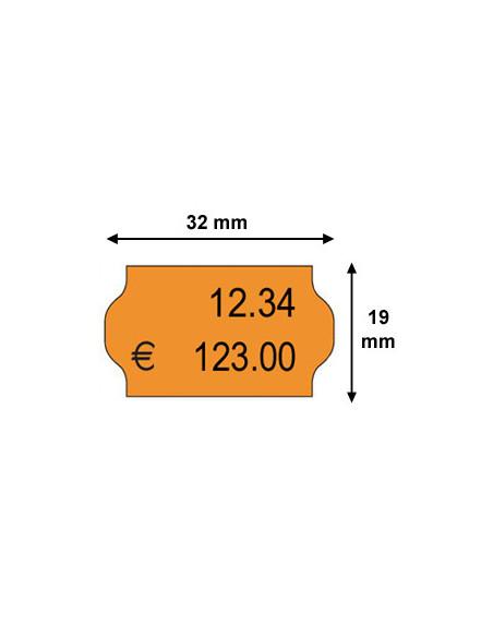 2 Etiquettes prix 32 x 19 Orange FLUO - Boite de 30 rouleaux