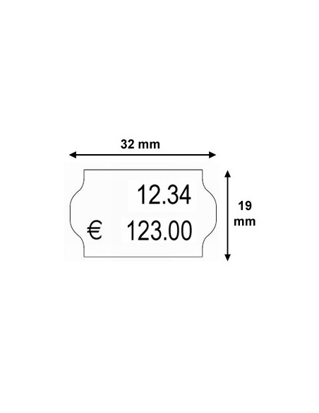 2 Etiquettes prix 32 x 19 Permanent - Boite de 30 rouleaux